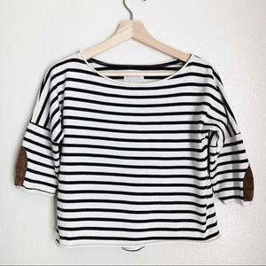 Zara Basics Stripped Crop Top With Elbow Patches